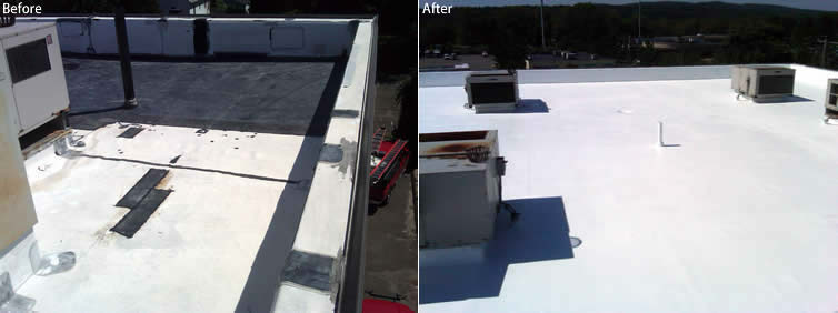 North Haven Spray Roof Before and After